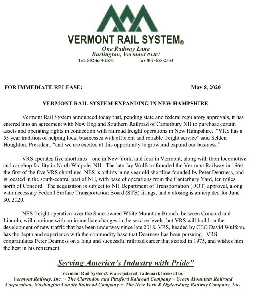 Letter from Vermont Rail System