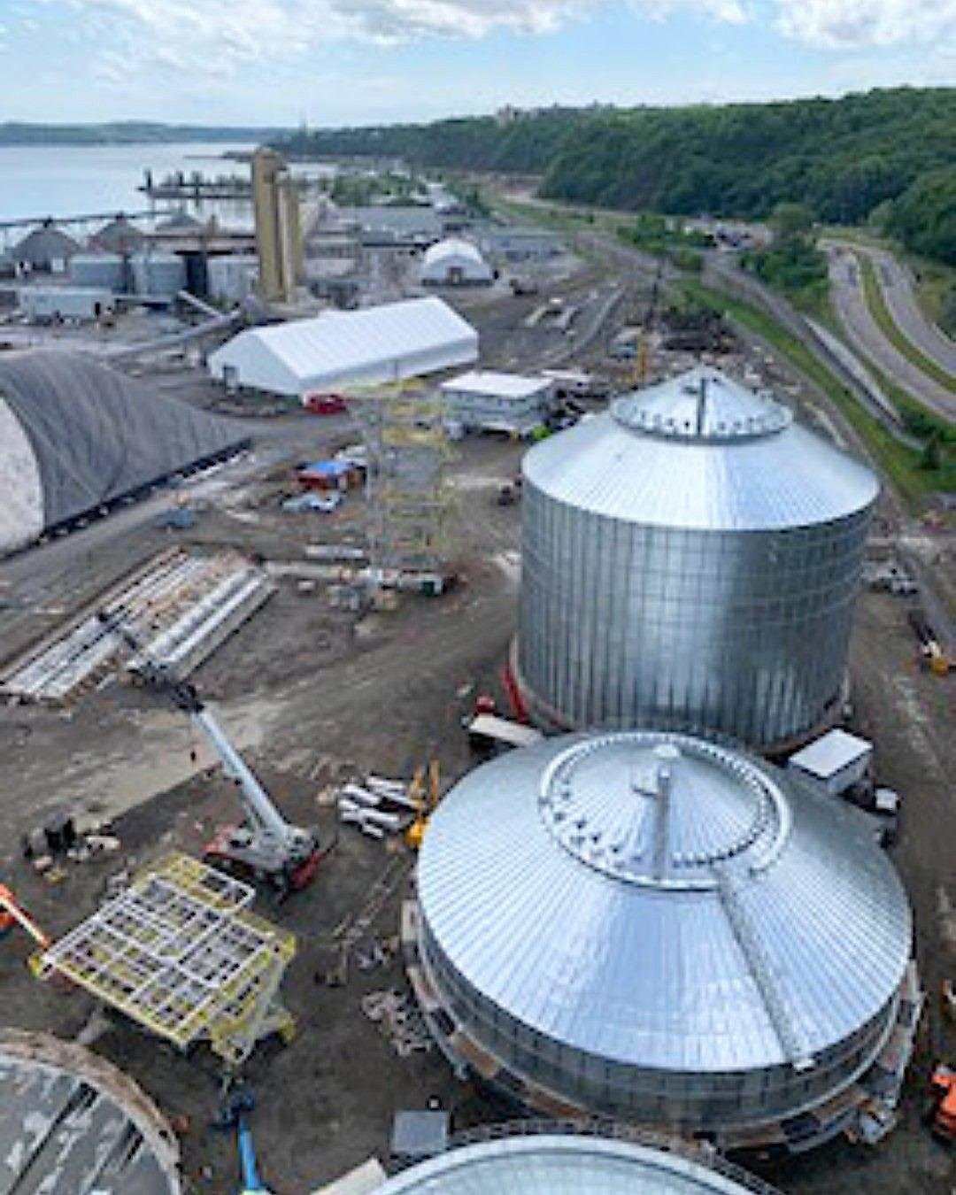 aerial photo of grain site construction