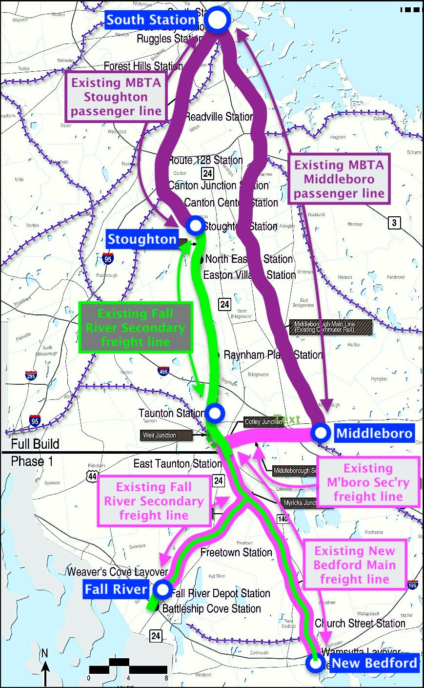 Map of rail lines between Boston to Fall River