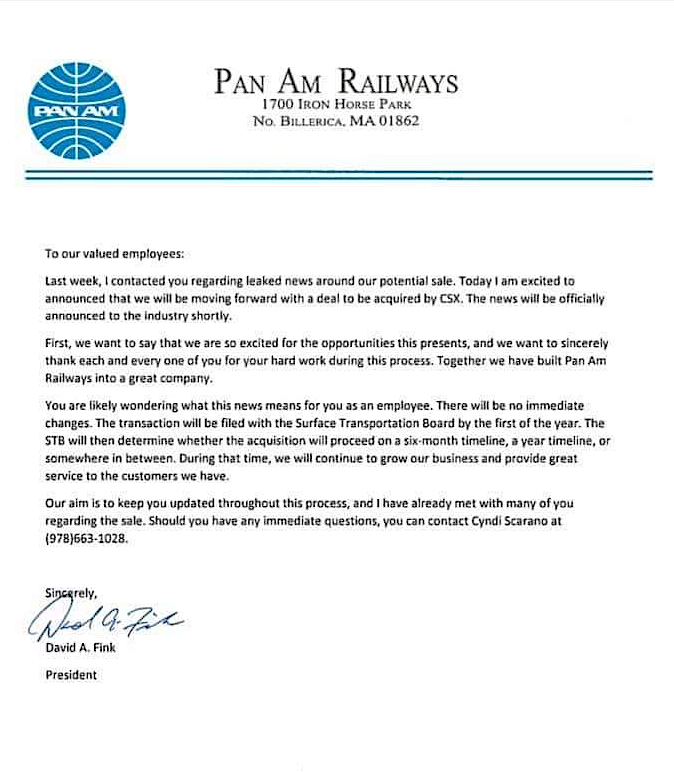 DAF letter to Pan Am Employees