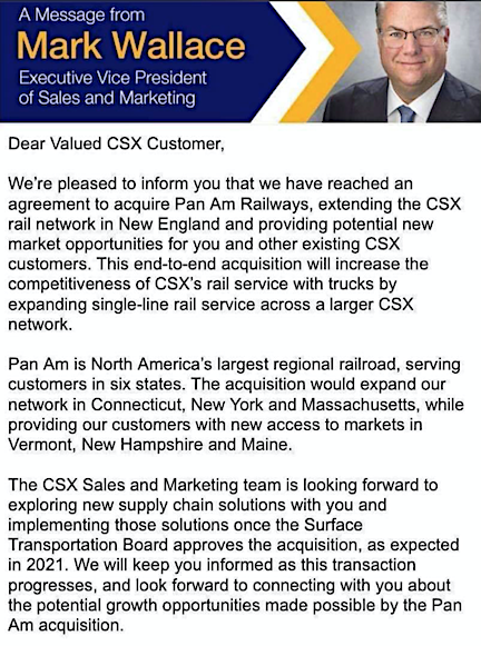 Wallace letter to CSX customers