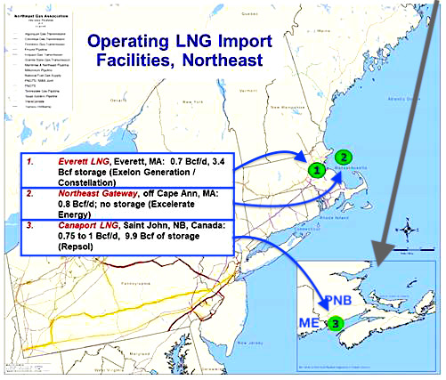 NewEngland LNG Import facilities